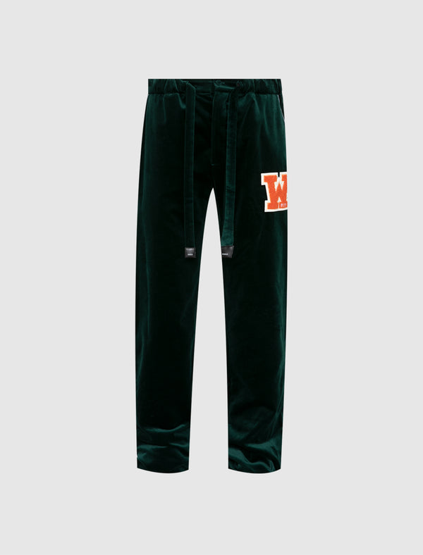 OFF-WHITE: VELVET PAJAMA PANTS [GREEN]
