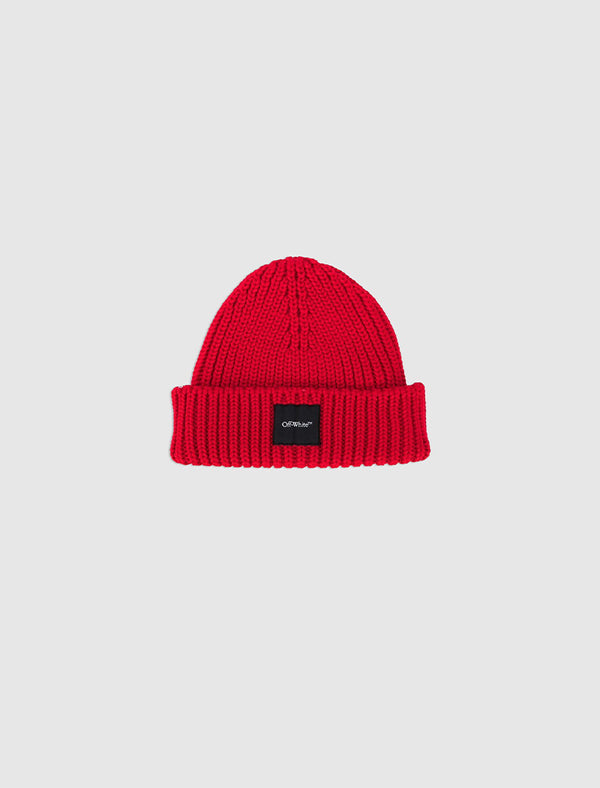 OFF-WHITE RIBBED BEANIE