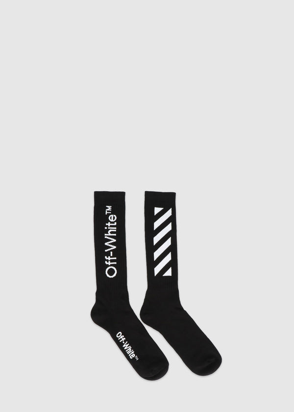 OFF-WHITE: DIAGONAL SOCKS [BLACK]