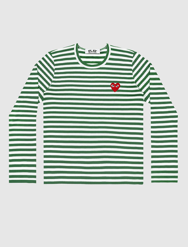 CDG PLAY: PLAY STRIPED LS TEE [GREEN]
