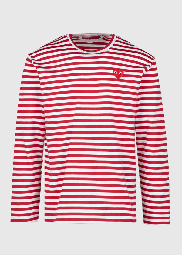 COMME DES GARÇONS PLAY: STRIPED LS TEE [RED]