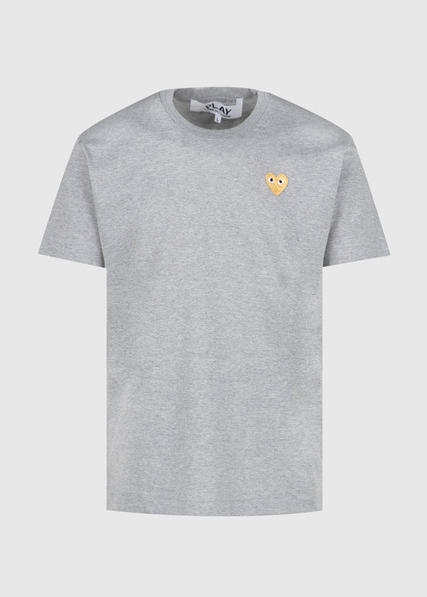 CDG PLAY: GOLD HEART T-SHIRT [GREY]