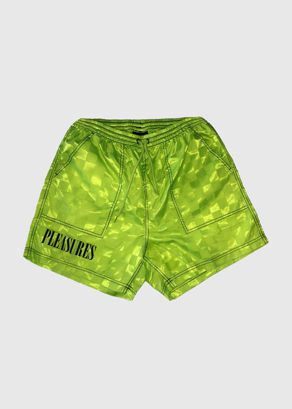 PLEASURES: BPM SHORTS [NEON GREEN]