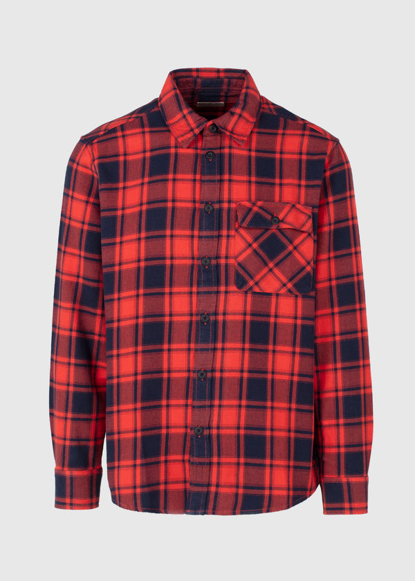 NUDIE JEANS CO.: STEN FLANNEL SHIRT [RED]