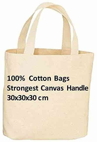 10 Top quality Pack 100/% Premium Cotton Canvas Shopping Shoulder Tote Bags Beige