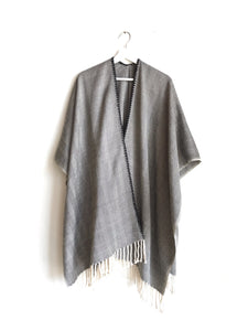 Black Herringbone Open Front Poncho