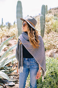Black Diamante Open Front Poncho