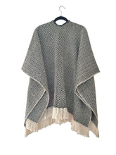 Load image into Gallery viewer, Black Diamante Open Front Poncho (wool/cotton)