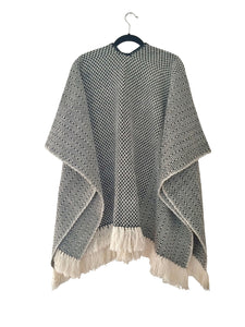 Black Diamante Open Front Poncho (wool/cotton)
