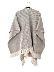 Grey Diamante Open Front Poncho (cotton/wool)