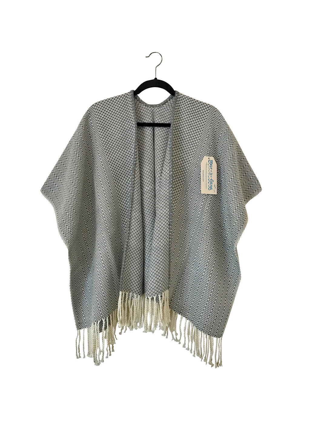 Grey Diamante Open Front Poncho