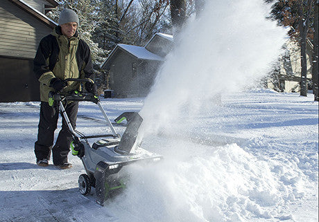 Snow blower in use