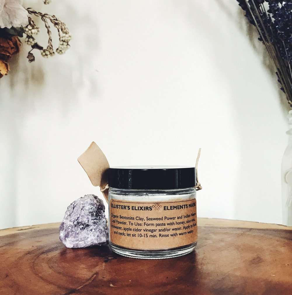Earth Elements Facial mask, all natural skincare by Ellister's Elixirs in Lancaster, PA