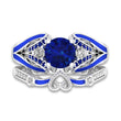 Butterfly Ring Round Cut Blue Sapphire Bridal Sets Blue Enamel