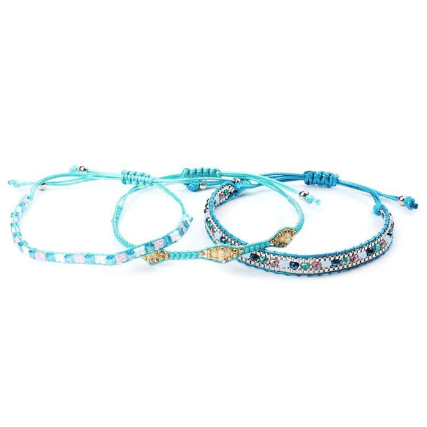 Handmade Bohemian Beads Bue sky Bracelets Set For Woman
