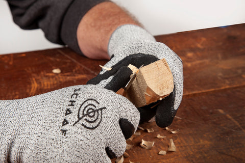 whittling with schaaf tools protective gloves
