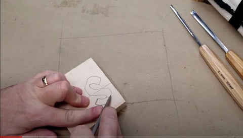 Using a Schaaf Tools Skew Chisel to carve the letter S