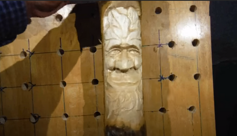 Mark Hanson demonstrates how to carve a Greenman out of Aspen