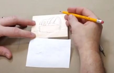 Take your pencil and trace the groove in the wood - This will give you enough detail to start carving