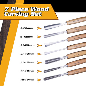 Premium - Hand Sharpened - Schaaf Wood Carving Tools, Set of 7