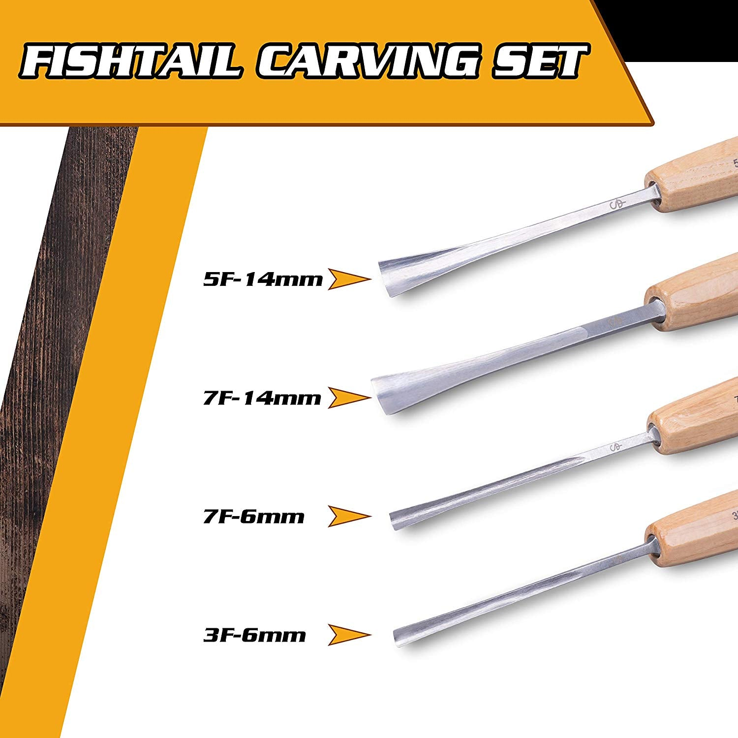 Set of 4 - Fishtail Wood Carving Tools for Detail Work