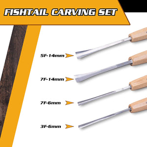 Schaaf Tools Wood Carving Fishtail Set for Detail Work, 4pc | Canvas Case Included