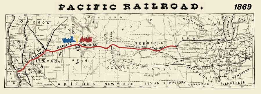 Pacific Railroad transcontinental map