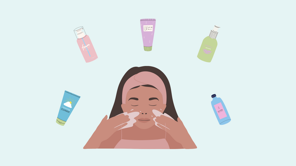 girl washing her face with skincare products surrounding her