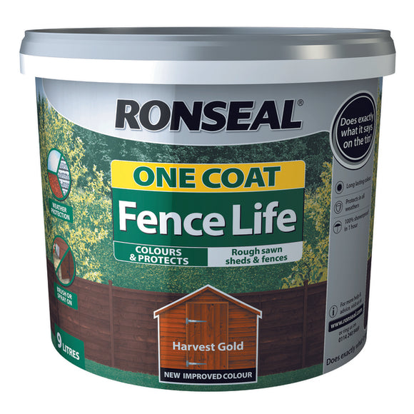 One Coat Fence Life 9L Harvest Gold