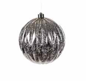 Large LED Christmas Bauble Silver - 6615778