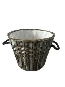 Round Grey Willow Log Basket with Liner - 641068
