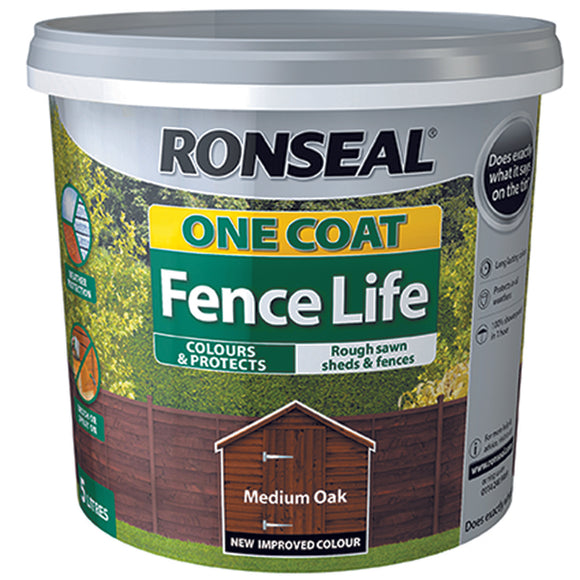 Ronseal One Coat Fence Life 5L Medium Oak
