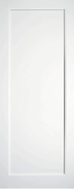 B&G Single Panel Primed White Shaker Door - 6Foot 8 x 2Foot 8