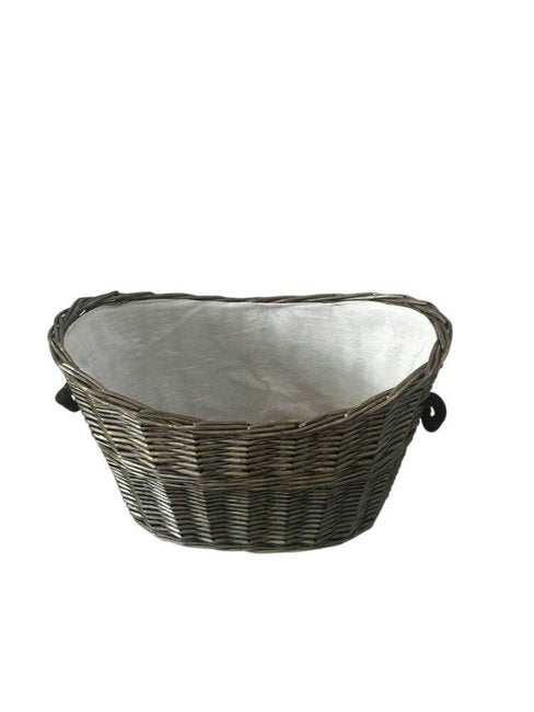 Oval Grey Willow Log Basket with Liner - 641068