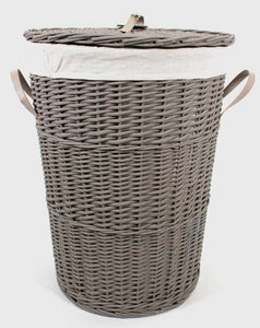 Round Grey Hamper With Liner - Small