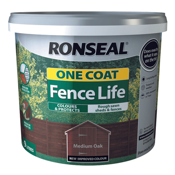 One Coat Fence Life 9L Medium Oak