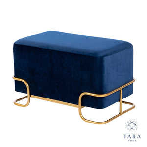 Tara Home - Tivoli Royal Blue Velvet Stool with Gold Legs