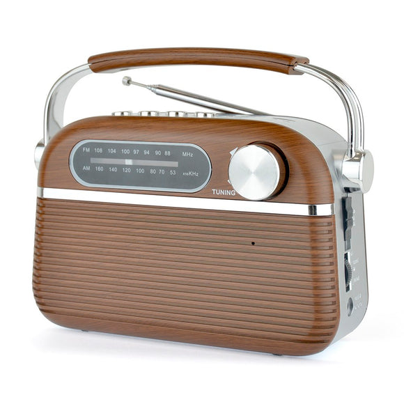 Lloytron Rechargeable Portable Bluetooth AM/FM Radio Wood Effect - 613112