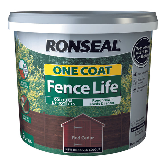 Ronseal One Coat Fence Life 12L Red Cedar