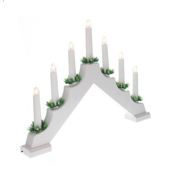 Festive Battery Operated White Candle Bridge - 669156