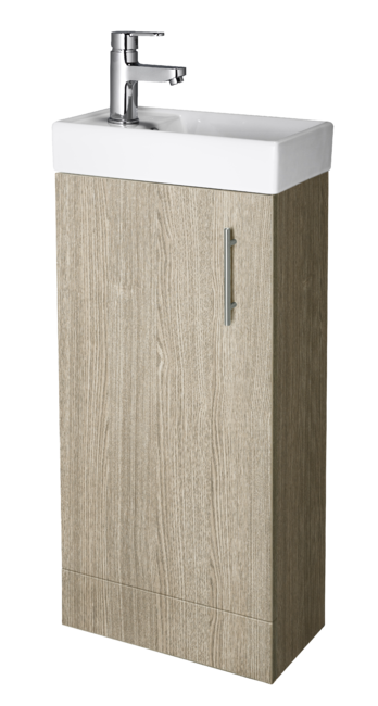 400mm Minimalist  Floor Standing Vanity Unit & Basin Oak