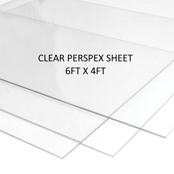 Clear Perspex - 6ft x 4ft Sheets (4mm Thickness)