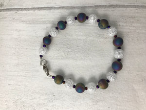 Titanium Coated Druzy and Cracked Rock Crystal Bracelet
