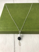 Load image into Gallery viewer, Howlite and Lava Stone with Sterling Silver Leaf Charm