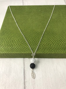 Howlite and Lava Stone with Sterling Silver Leaf Charm
