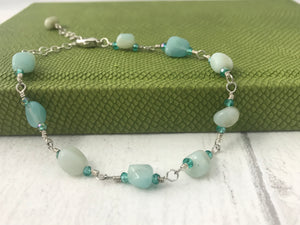 Smooth Amazonite and Sterling Silver Bracelet