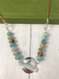 Amazonite Sterling Silver Toggle Necklace
