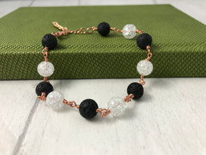 Lava Stone and Rock Crystal Copper Bracelet