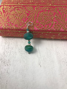 Ocean Green Glass Bead and Sterling Silver Pendant
