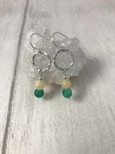 Load image into Gallery viewer, Green and Yellow Stone Silver Earrings